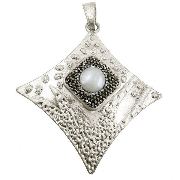 Brushed Silver Colour Concave Square Shaped Pendant w/ Pearl 74mm x 84mm